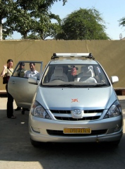 Manoj and our swastika-decorated Innova