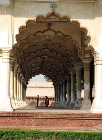 Arched walkway at Agra Fort