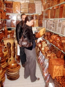 At a woodcarving souk shop in Marrakesh