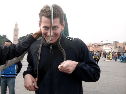 Jon with Snakes in the Djemma el Fna