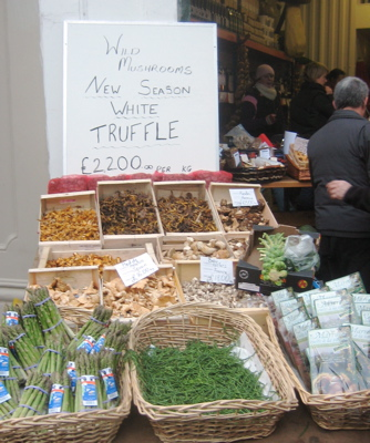Mushrooms for sale at Borough Market, London
