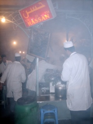 "merguez sausage ""kitchen"" in the Djemma el Fna"