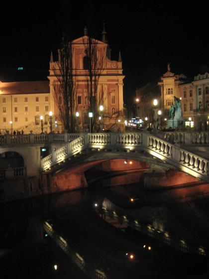 Ljubljana Triple Bridge at Night