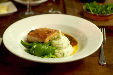 Gloucester Old Spot (pork belly) at the Albion gastropub, Islington, London N1