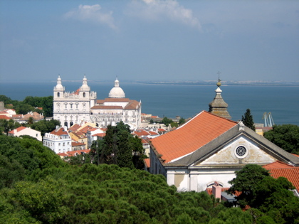View of Lisbon rooftops from Castelo Sao Jorge