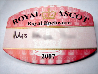 Royal Enclosure badge, Ascot, 2007