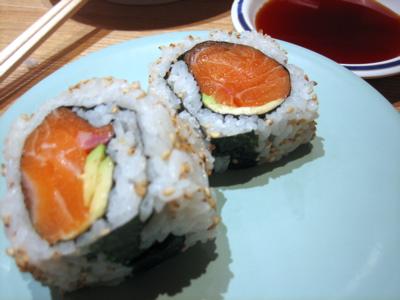 salmon avocado roll at Kulu Kulu South Kensington