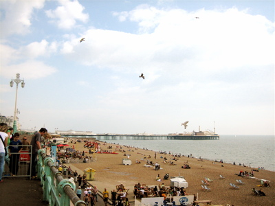 Brighton Beach and Pier in the distance