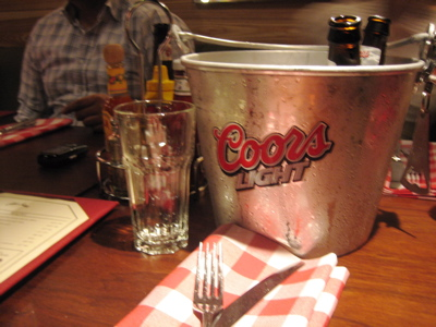 The lanes included bar service, so the buckets o' beer didn't have to stop.