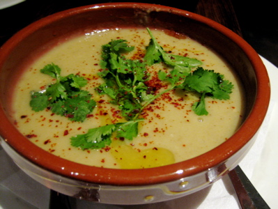 fava bean soup at Moro restaurant, Exmouth market, London