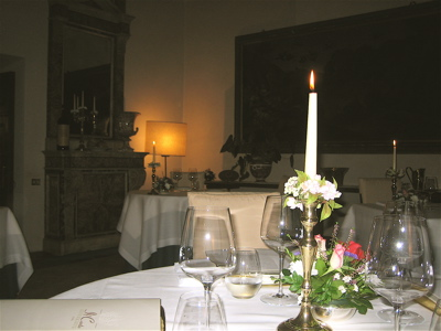 Dining Room of Il Canto Restaurant in Siena, Italy