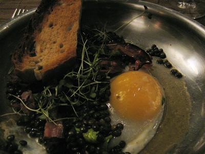 Duck egg appetizer at Wild Honey restaurant