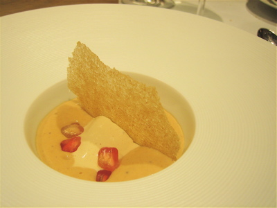 foie gras ice cream with brioche emulsion, Hibiscus restaurant, London