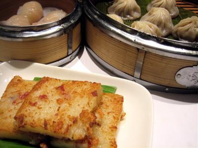 turnip cake and xiao long bao at Pearl Liang