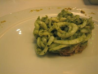 "Calamari ""spaghetti"" with pesto, Varoulka, Athens"