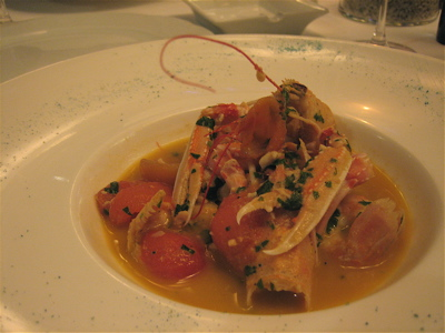 Crayfish in tomato broth at Varoulko restaurant, Athens