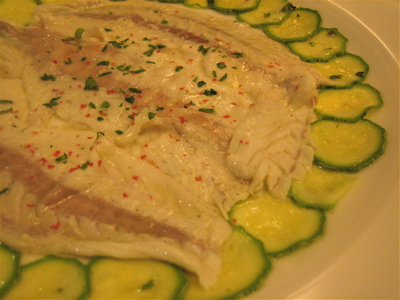 sea bass carpaccio and zucchini