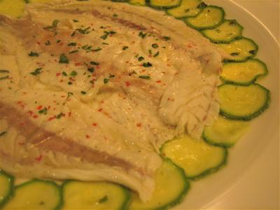 sea bass carpaccio and zucchini