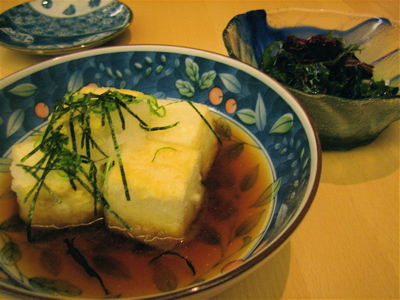 agedashi tofu and seaweed salad at Sushi Say