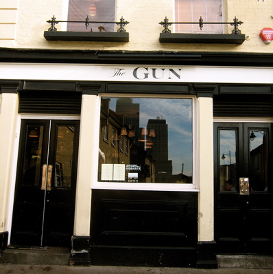 The Gun Gastropub exterior, London