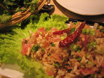 toasted rice salad at Lao Lane Xang 2, Paris
