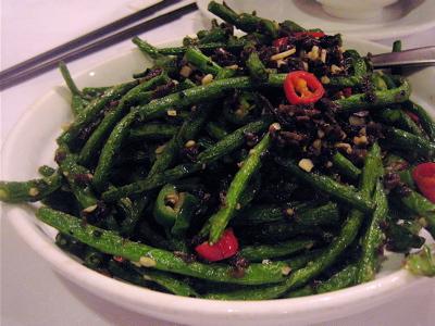 dry fried beans at Angeles Szechuan