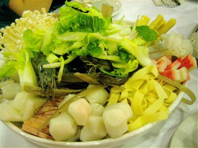 hot pot ingredients at Angeles szechuan