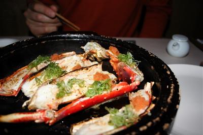 Grilled blue king crab with ponzu sauce at Sake No Hana