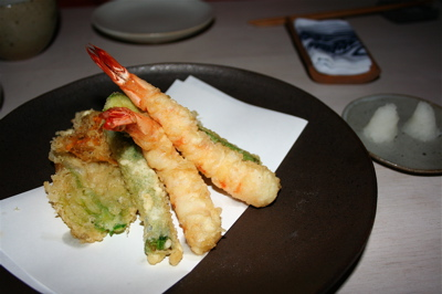 tempura prawns and courgette blossoms at Sake No Hana