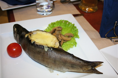 cheese stuffed fish at Fisheria restaurant, Moscow