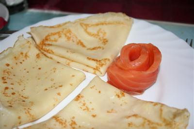Smoked salmon blini at Sword and Shield Restaurant
