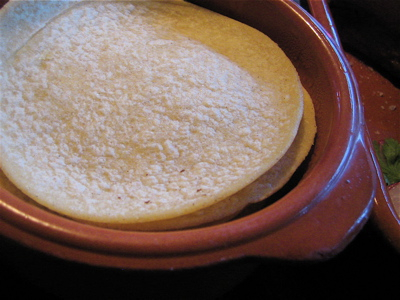 corn tortillas at Green & Red restaurant