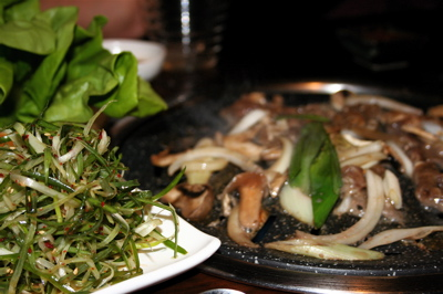 bulgogi on the grill at Koba Restaurant, London