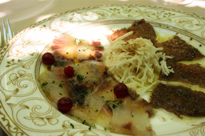 Corte Sconta tun and sea bream carpaccio