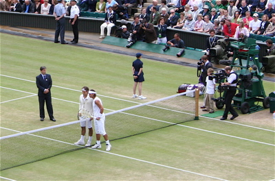 Federer Nadal at the beginning of 2008 Wimbledon Final