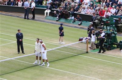 Federer Nadal at the beginning of 2008 Wimbledon Final