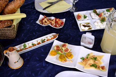 breakfast at our zimmer in Liman moshav, Israel
