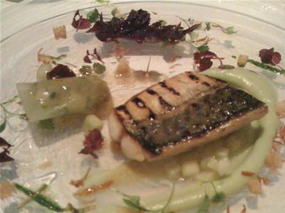 Grilled mackerel with mackerel tartare in cucumber gelee at the Ledbury