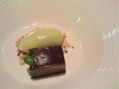 Pave of chocolate with sunflower seeds and basil ice cream