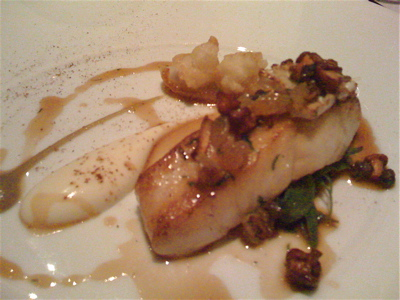 Roast turbot with cauliflower, raisins and sea purslane at the Ledbury