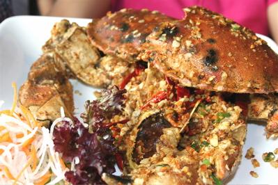 Chili garlic crab at Leong's Legend