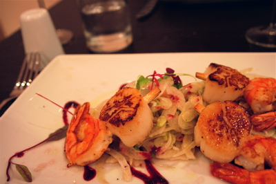 seared prawns and scallops with fennel salad