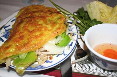 prawn banh xeo (crispy Vietnamese pancake)