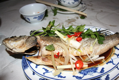 steamed whole sea bass with ginger at Huong Viet