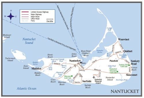 Map of Nantucket Island (from Cape Cod Travel Guide)