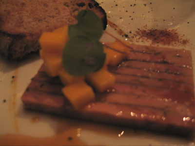 slice of foie gras terrine with mango