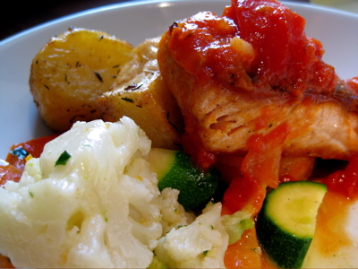 salmon fillet and veg at the Garrison