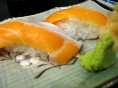 salmon nigiri at Tomoe
