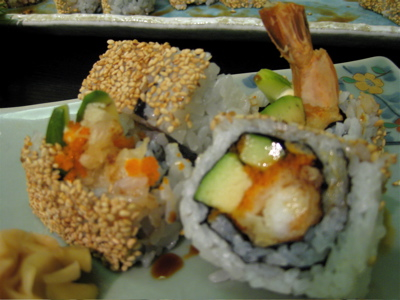 shrimp tempura maki at Tomoe