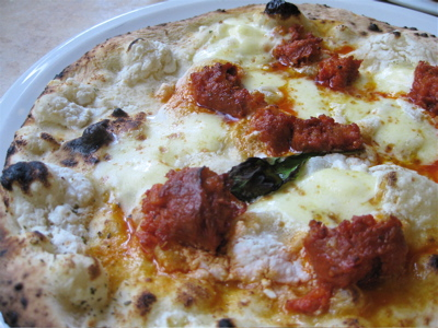 white pizza with sausage at Franco Manca